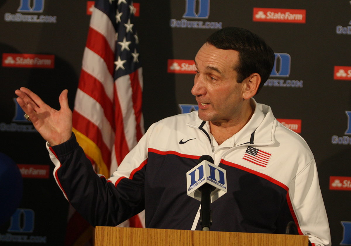 Duke basketball head coach Mike Krzyzewski in his Olympic gear back at Duke. (File Photo).