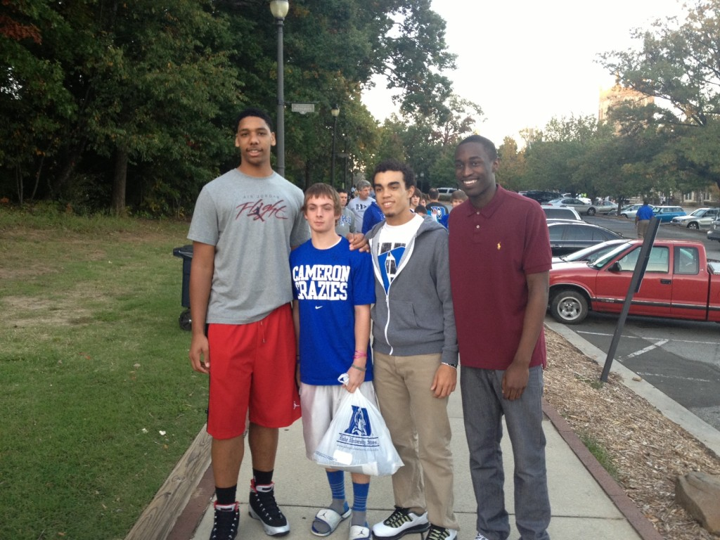 Theo Pinson, at the right, poses for photo with Jahlil Okafor, left, and Tyus Jones, next to Pinson, at Duke's Countdown to Craziness in October. (Photo credit: Brady Buck/The Chronicle)