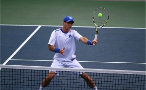 Henrique Cunha remained perfect on the season in singles play as the Blue Devils won two NCAA Tournament matches. (Eric Lin/The Chronicle)