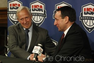 President Brodhead and Coach Krzyzewski shake hands during Thursday's press conference. (Photo by Elysia Su/The Chronicle)