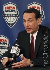 Mike Krzyzewski will officially return to USA Basketball through the 2016 Olympics in Rio De Janeiro. (Photo by Elysia Su/The Chronicle)